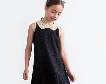 SALE - Black Embroidered Lace Party Celebration Longline Sleeveless Dress with Golden Sequin Collar for Little Girls