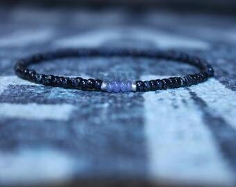Tanzanite Bracelet for Him - Small Bead Mala Bracelet - Men's Bead Bracelets Gem, Mens gift for him Husband Gift , Mens Seed Bead