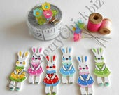 Bunny buttons - Rabbit buttons - Wood buttons - Sewing Buttons - Quilting buttons - Cherry Chick - Scrapbooking buttons - Easter Bunny