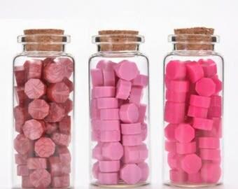 Pink Wax Beads, Sealing Wax, Stamp Seal Wax, Bottled Wax - PJ062