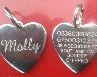 Engraved Pet Tag ID Disc Tags Cat Dog Metal Silver Nickel Heart + Split Ring