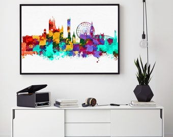 Manchester Skyline, Manchester City Print, Manchester Wall Art Decor, Birthday Gift, Bedroom Decor, Wall Art Print, Nursery Decor (N116)