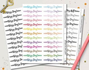 Lazy Day Word Planner Stickers | Header Planner Stickers | Watercolour Stickers | Day Off Stickers