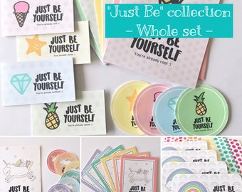 Just Be Yourself - Set of the WHOLE collection, Stationary Set: Cards & Stickers, Positivity, Encouragement, Pastel colors, Rainbow, Unicorn