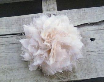 Shabby Chic Rosette, Frayed Fabric Flower for Shabby Chic Garlands, Headbands, Wedding Decor, DIY Craft Projects, Shabby Fabric Flower