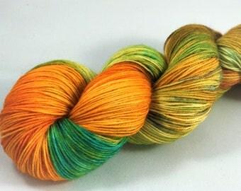 "Hand Dyed Sock Yarn, Superwash Wool & Nylon ""Gecko"""