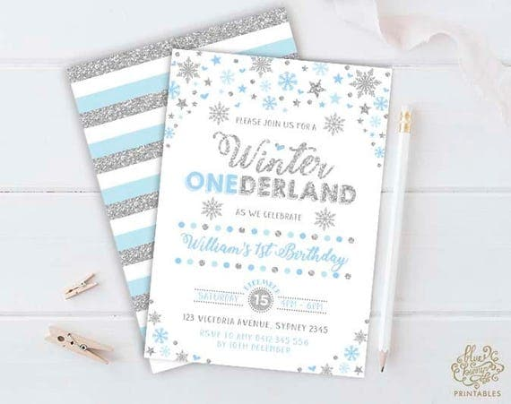 Winter ONEderland Invitation Blue and Silver First Birthday