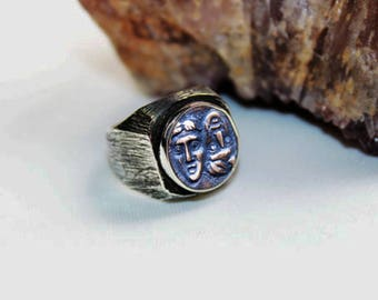 Men Silver Coin Ring, Ancient Coin Ring, Silver Ring - Silver Men Ring-Silver Women Ring, Men Ring, Women Ring