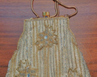 Elan Beaded Evening Purse, Gold and Silver Evening Purse, Bridal Wedding Purse, Evening Party, Formal Purse, Prom Purse