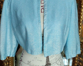 Vintage 1960's Puritan Forever Young Light Blue Lurex Bolero Jacket
