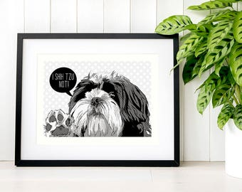 Shih-tzu valentines pet portrait drawing gift-for-bff Shih tzu pop art wall decor gift-for-aunt Birthday gift ideas Gift for stepmom