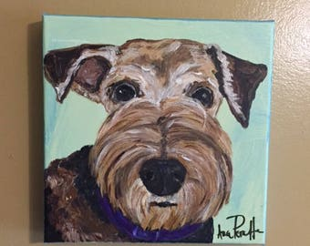 Airedale Portrait, 8x8 acrylic canvas painting by Ana Peralta