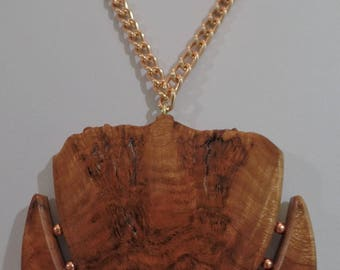 Black Cherry Burl Necklace pendant with natural edge and Copper Beads, Copper plated 20 inch chain JN016