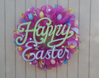 Easter Mesh Wreath, Easter Wreath, Spring Wreath, Happy Easter, Pink
