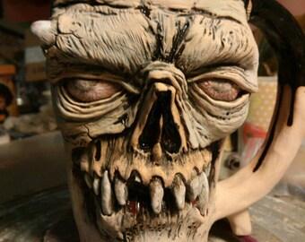 Zombie Mug, Ceramic Mug , Zombie Large Mug, ceramics Zombie cup, handmade, men gift, face mug, large mug 0.5 liter Face Mug