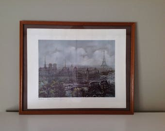 Paris City poster - panoramic view of Paris - Maurice Legendre - vintage - Monuments of Paris - Eiffel Tower - Made in France