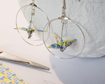 Origami cranes blue and yellow flowers on white silver hoop earrings