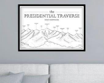 Presidential Traverse New Hampshire, 4000 footers illustrated print map hiking, New Hampshire, Appalachian Trail, presi traverse, Washington