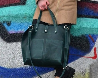Leather shopper bag, Emerald Tote bag, Leather Handbag, Large tote bag, Green leather tote, Tote bag with pockets, Gift for her
