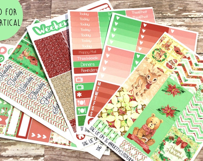 Christmas Planner Stickers - Fits Erin Condren Vertical - Summer Floral Planner Stickers - Ala Carte Weekly Sticker Kit - Christmas Critters