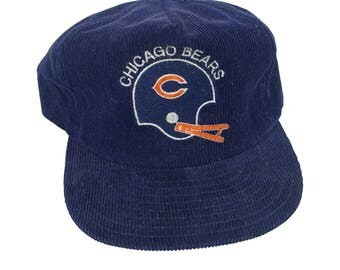 Vintage 1980s Chicago Bears NFL Football Corduroy Snapback Hat