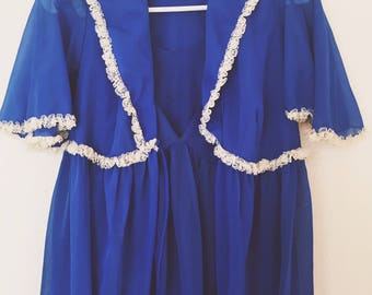 Union Made 60s Vibrant Blue Night Gown with Robe