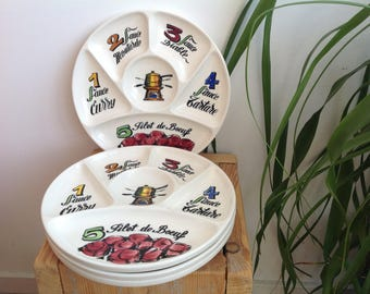 Four fondue plates, French country set, 70s separated plates