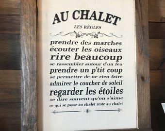 """Plaque """"Les Règles Au Chalet"""""""