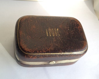Antique Double Travel Inkwell with pen wipe - Austrian made