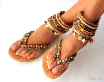 "Leather Boho Sandals, ""Africa"",  Leather sandals, brown summer sandals, Greek Sandals, Handmade Sandals, , hippie sandals,"
