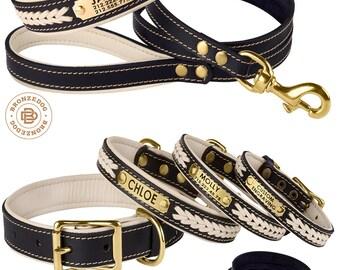 Dog Collar Leash Set Leather Engraved Personalized Custom Brass Hardware Soft Padded Beige