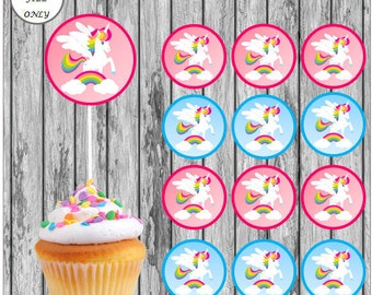 Unicorns & Rainbows *Digital Download* Cupcake Toppers x12 2inch PDF instant printable cupcake toppers