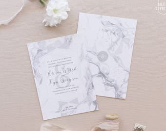 modern marble wedding invitations, printable wedding invitation suite, marble wedding invite, marble save the date, diy wedding stationery