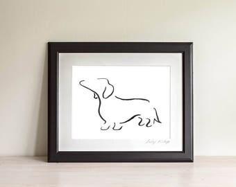 Framed Daschund Art Print, Daschund Line Art, Daschund Gift, Wiener Dog Art Print, Sausage Dog, Minimalist Art, Modern Art, Dog Lover Gift