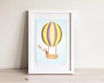 Mouse Print, Mouse Nursery Print, Air Balloon Art, Cute Childrens Art, Cute Kids Room Decor, kids art, kids print, baby gift
