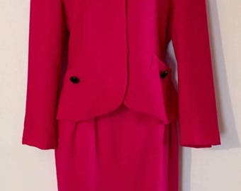 Vintage 1980s Christian Dior The Suit Paris New York Label Blazer with A-Line Skirt Designer Suit