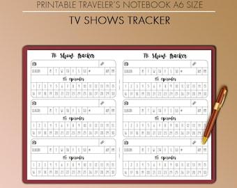 Traveler's Notebook TV Show Series Tracker Insert Printable