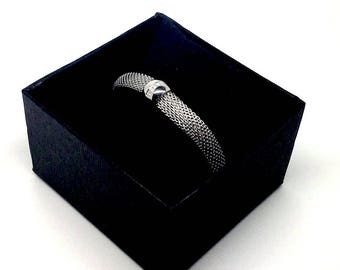 Men's Stainless Steel Mesh Bracelet with Cubic Zirconia Bead - Gift box included. Italian jewellery for men. Birthday gift - Luxury jewelry
