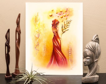 Gold Dreams Sower- Drawing - Malagasy Illustration - Artprint - Print - African Design