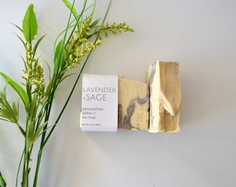 Lavender Sage Exfoliating Bar Soap, Natural, Vegan.