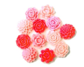 12 pink flower resin cabochons, mix flower cabochons, assorted mat pink flower cabochons, flat back cabochons jewelry supplies