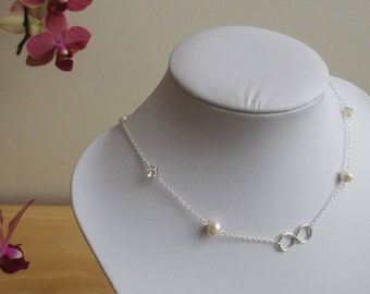 Sterling silver infinity backdrop bridal necklace with freshwater pearls and Swarovski crystals, wedding, bride, bridesmaid, prom