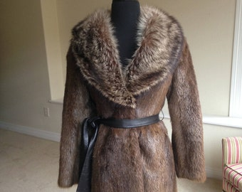 Vintage Nutria Fur Coat Raccoon Fur Collar 1970