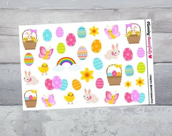 Easter Planner Stickers, Easter Stickers, Easter Decor, Easter Basket, Erin Condren Planner Stickers, Happy Planner Stickers, Bunny Stickers