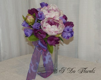 Purple and Cream Bridal Bouquet, Peony, Tulip and Crocus Brides Bouquet, Spring Wedding Bouquet,  Silk Bridal Bouquet, Wedding Bouquet