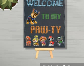 Welcome to my party sign, Paw Patrol Sign,Paw Patrol Party,Paw Patrol Decorations, Birthday Sign,Paw-ty Sign, Paw Patrol, 8x10 PRINTABLE