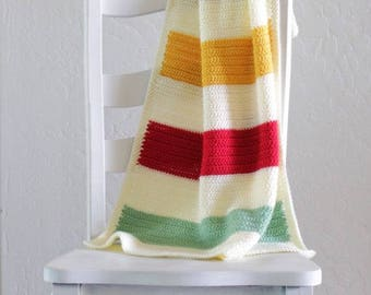 Crochet Hudson's Bay Pattern Baby Blanket