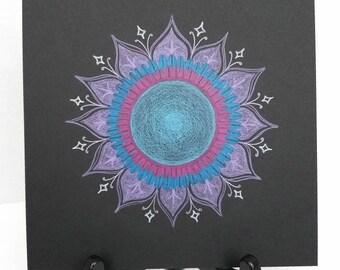 Original Mandala Drawing - Colored Pencil Mandala Drawing - Passion Mandala - Purple and Blue Mandala - Yoga Meditation Art - Spiritual Art