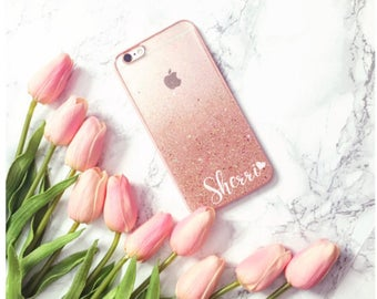 Rose Gold Glitter Ombre Handmade Sparkle Transparent Clear Phone Case 5/5s/SE/6/6s/7 plus iPhone case Samsung S5/S6 Edge Plus/S7/S8 Gift