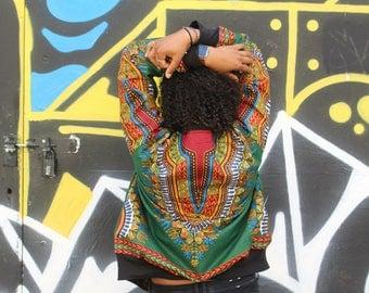 African Bomber Jacket - Wax Bomber - Dashiki Jacket - Dashiki Bomber jacket - African Clothing - Festival Clothing - Festival Jacket -